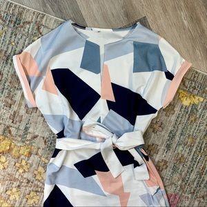 Summer Dress with Tie Waist andGeometric Pattern